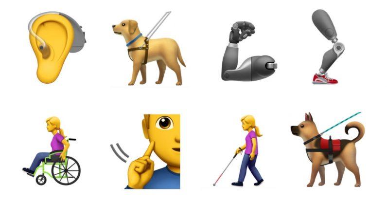 Emoji Perro guia , mujer con baston , protesis brazo y pierna , hombre en silla de rueda